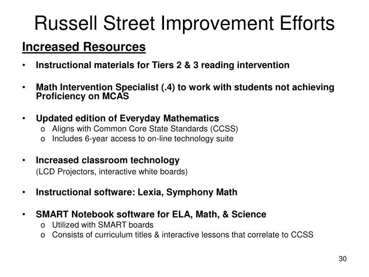 Russell Street Improvement Efforts