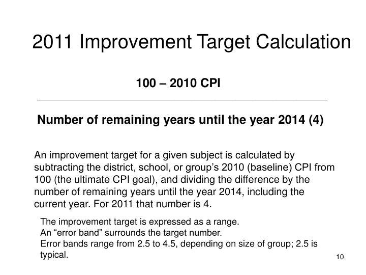 2011 Improvement Target Calculation