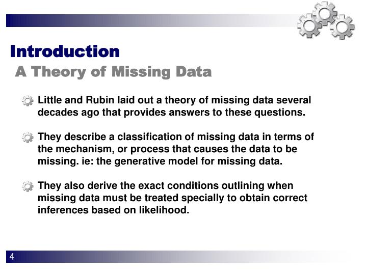 Little and Rubin laid out a theory of missing data several decades ago that provides answers to these questions.