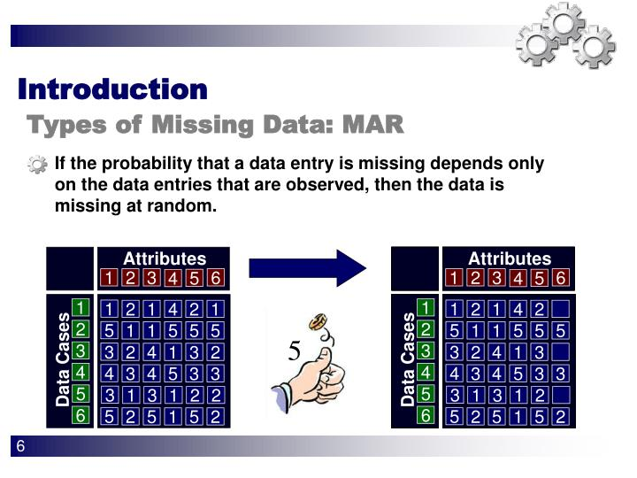 If the probability that a data entry is missing depends only on the data entries that are observed, then the data is missing at random.