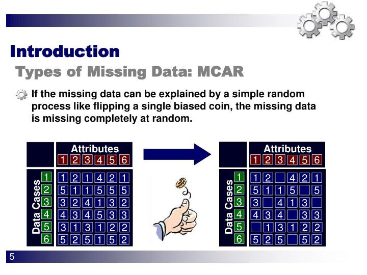 If the missing data can be explained by a simple random process like flipping a single biased coin, the missing data is missing completely at random.