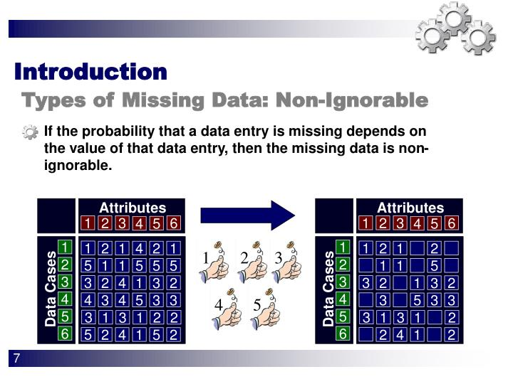If the probability that a data entry is missing depends on the value of that data entry, then the missing data is non-ignorable.