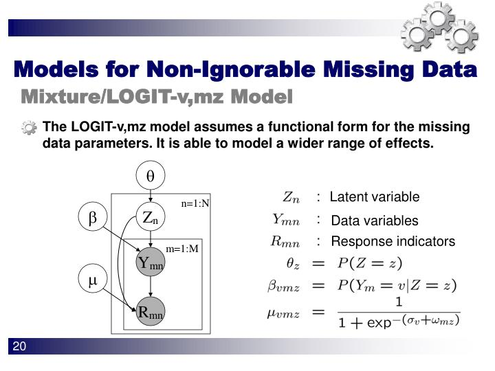 The LOGIT-v,mz model assumes a functional form for the missing data parameters. It is able to model a wider range of effects.