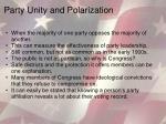 party unity and polarization