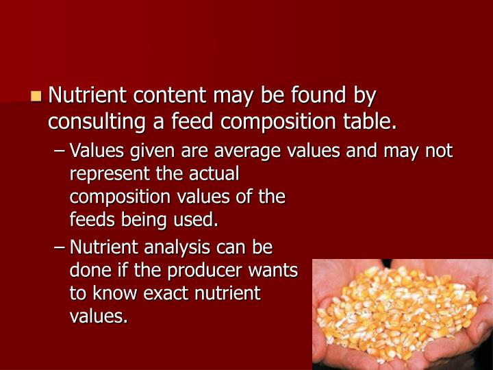 Nutrient content may be found by consulting a feed composition table.