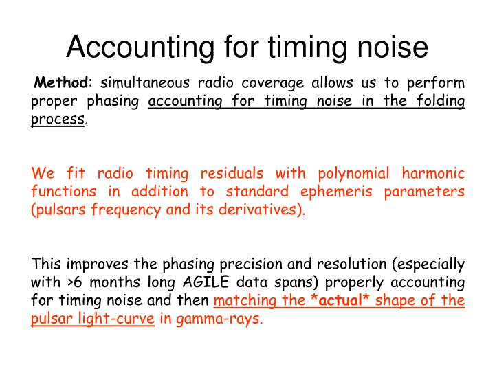 Accounting for timing noise