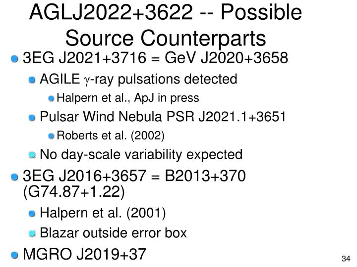 AGLJ2022+3622 -- Possible Source Counterparts