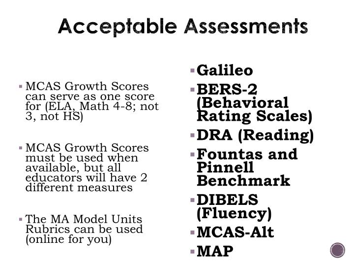 Acceptable Assessments