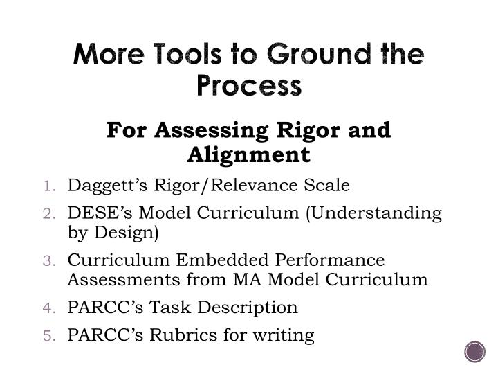 More Tools to Ground the Process