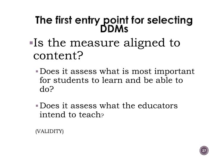 The first entry point for selecting DDMs