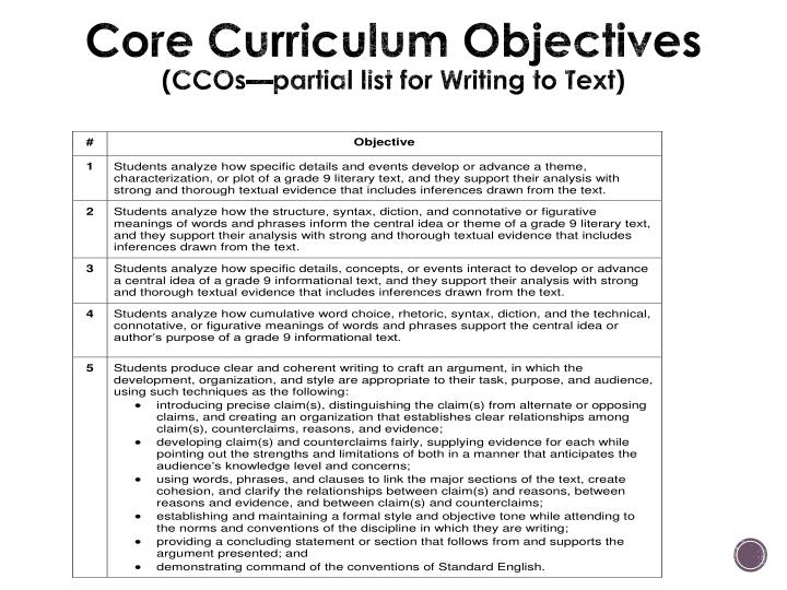 Core Curriculum Objectives