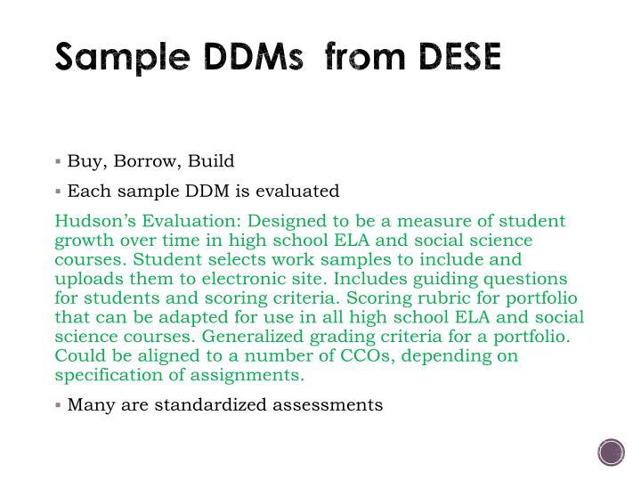 Sample DDMs  from DESE