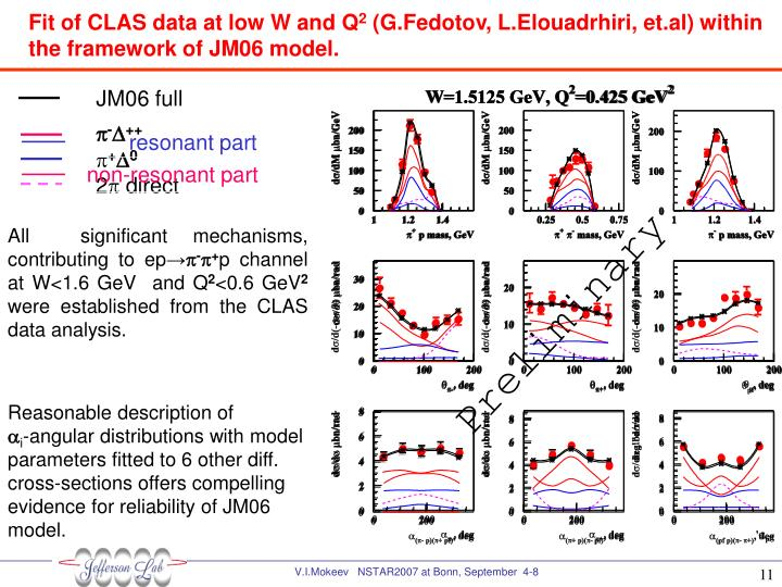 Fit of CLAS data at low W and Q