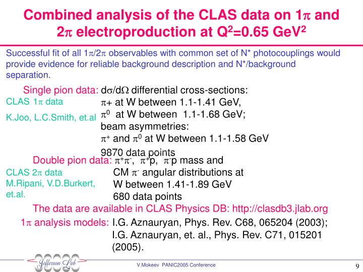 Combined analysis of the CLAS data on 1