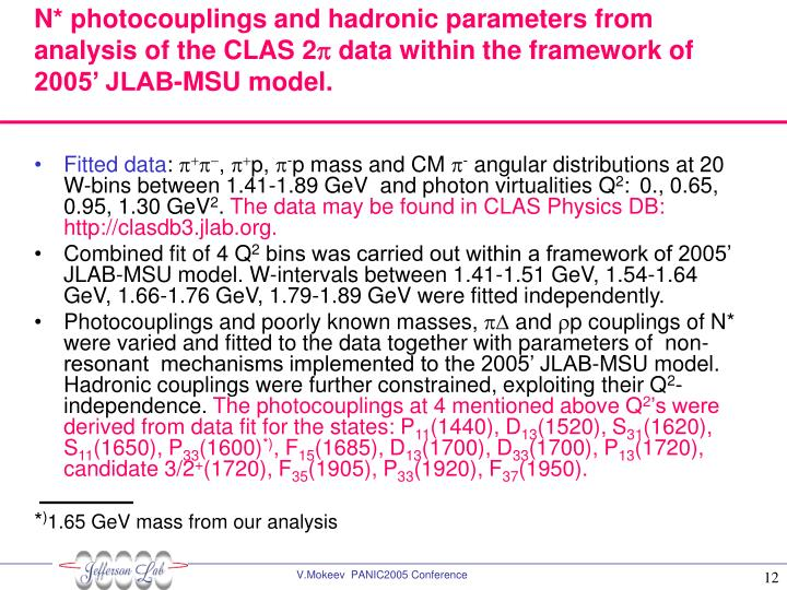 N* photocouplings and hadronic parameters from analysis of the CLAS 2