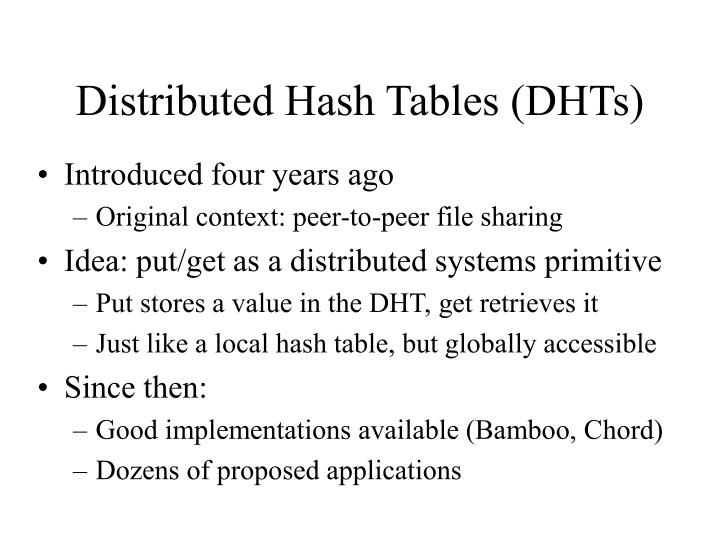 Distributed Hash Tables (DHTs)