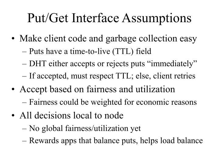 Put/Get Interface Assumptions