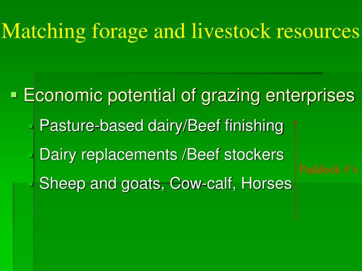 Matching forage and livestock resources