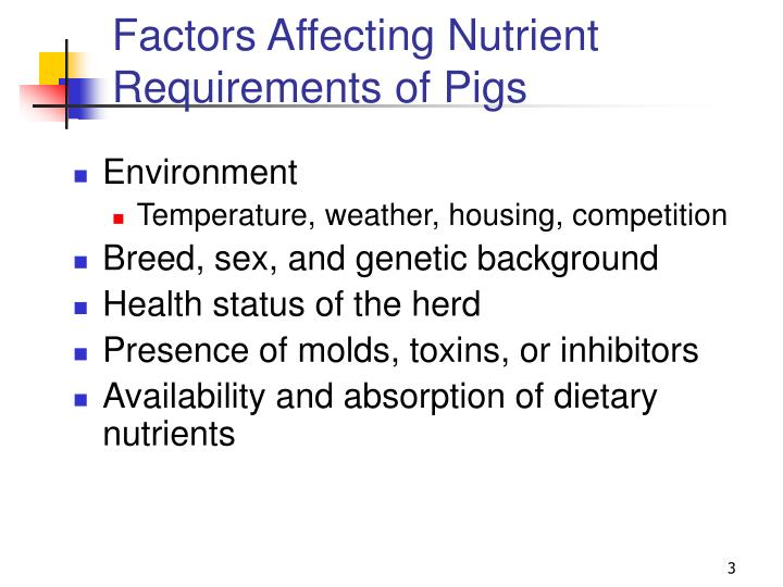 Factors Affecting Nutrient Requirements of Pigs