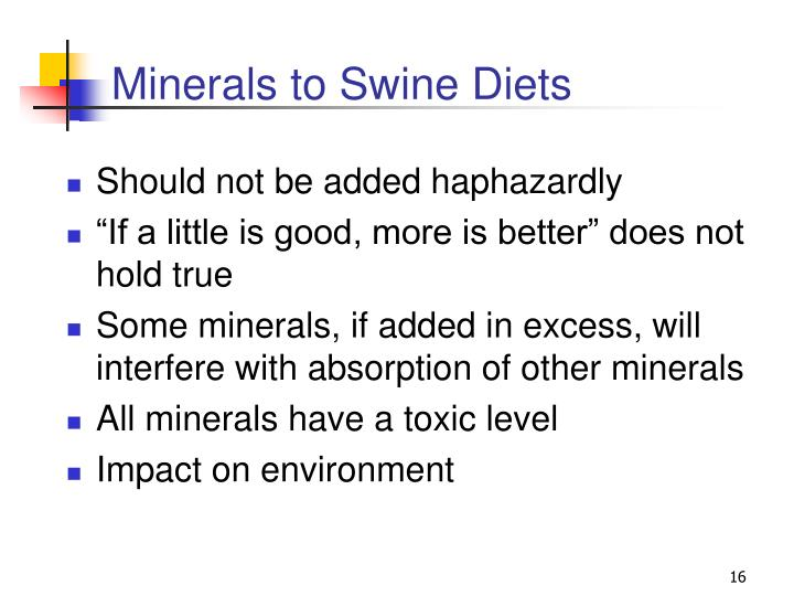Minerals to Swine Diets
