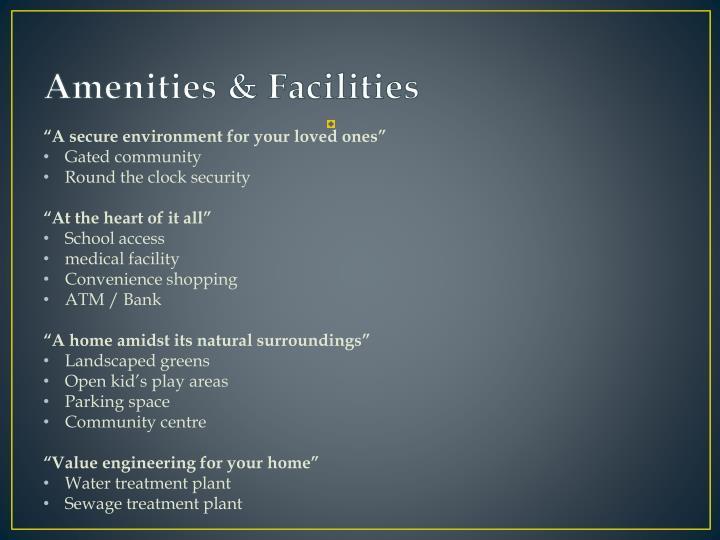 Amenities & Facilities