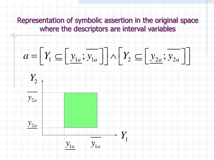 Representation of symbolic assertion in the original space where the descriptors are interval variables