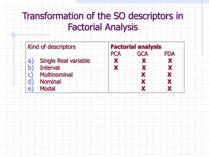 Transformation of the SO descriptors in Factorial Analysis