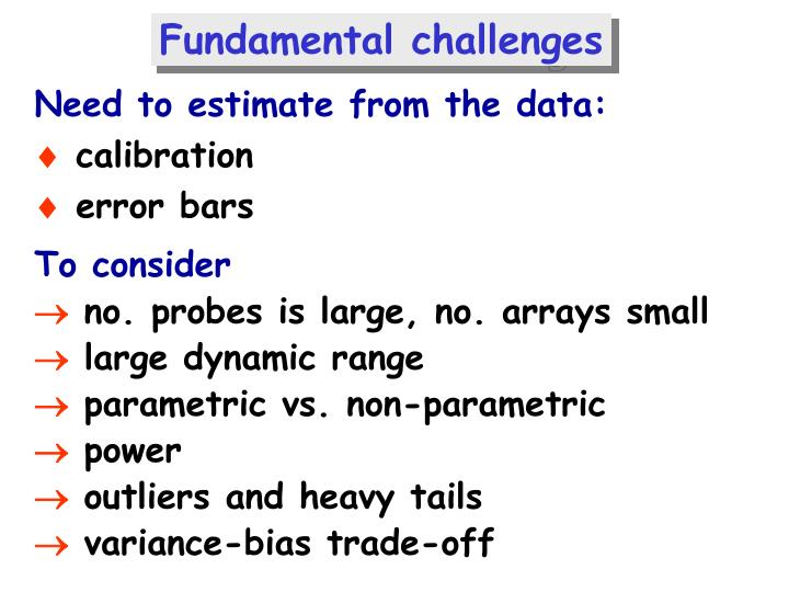 Fundamental challenges