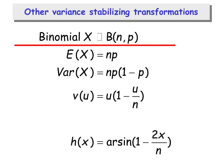 Other variance stabilizing transformations