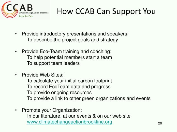 How CCAB Can Support You