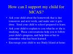 how can i support my child for mcas1