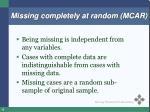 missing completely at random mcar