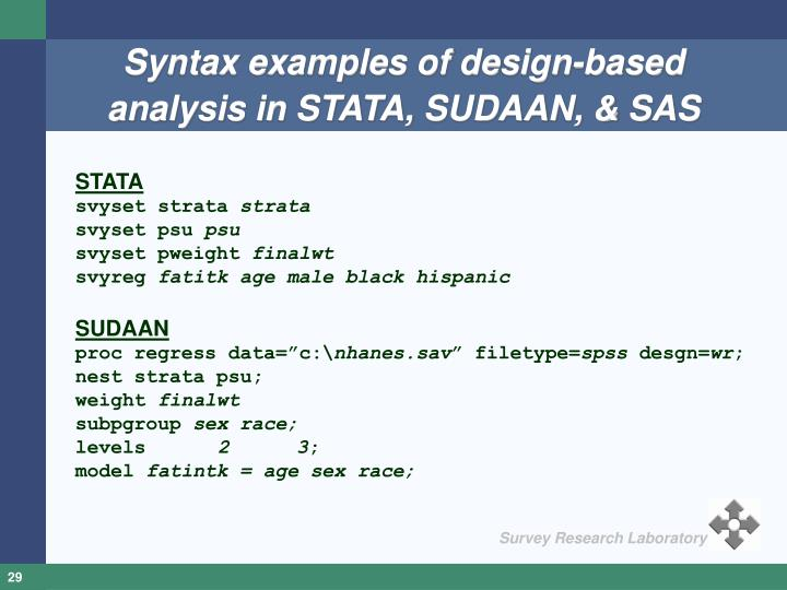 Syntax examples of design-based analysis in STATA, SUDAAN, & SAS