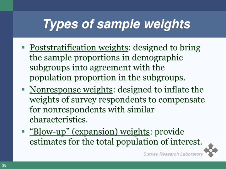 Types of sample weights