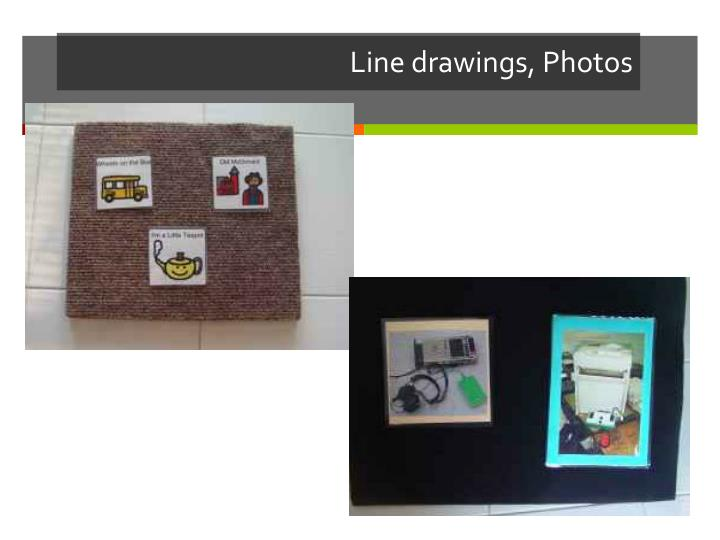 Line drawings, Photos