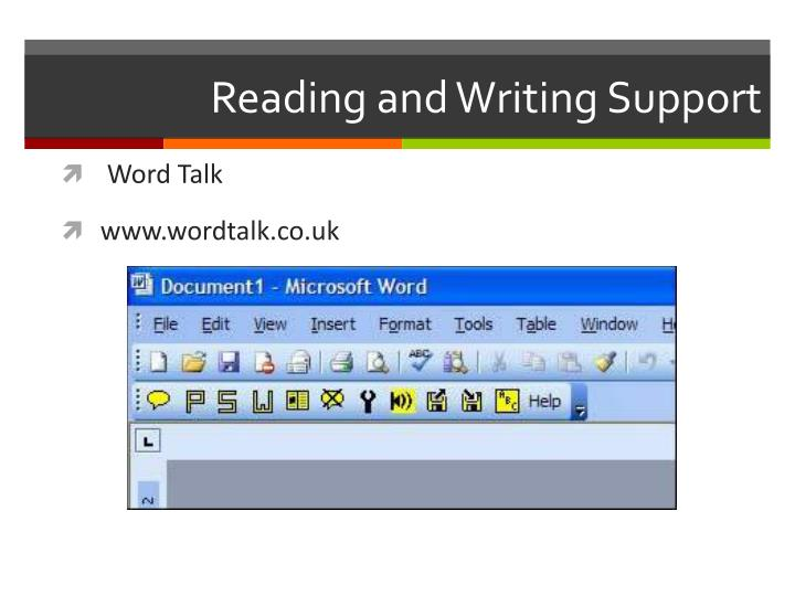 Reading and Writing Support