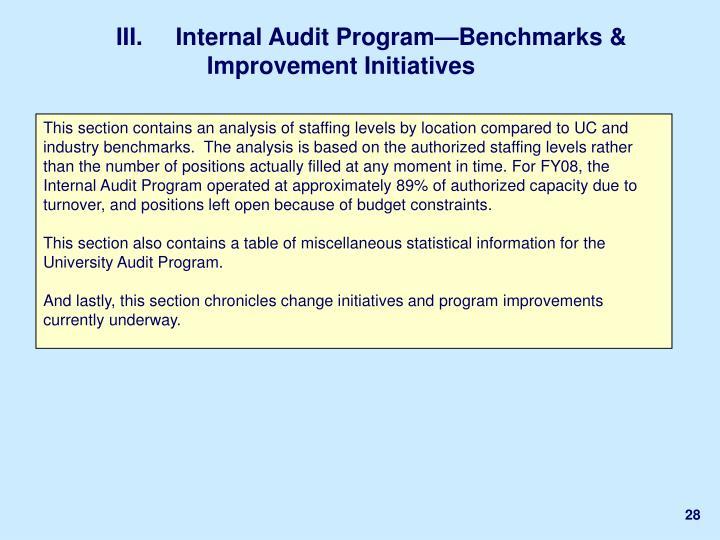 III.     Internal Audit Program—Benchmarks & Improvement Initiatives