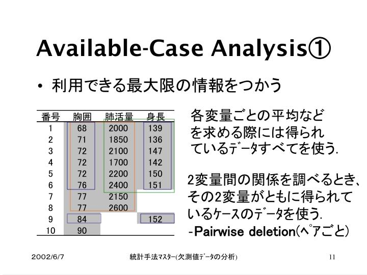 Available-Case Analysis①