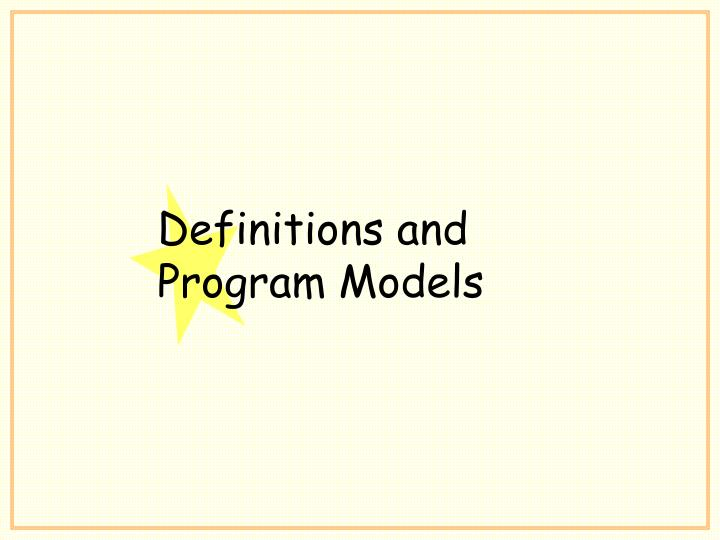 Definitions and