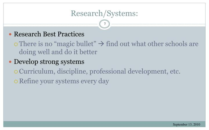Research/Systems: