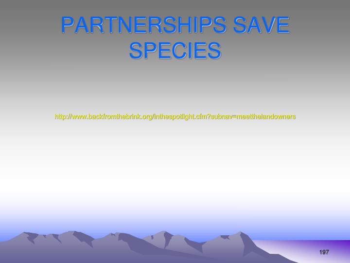 PARTNERSHIPS SAVE SPECIES