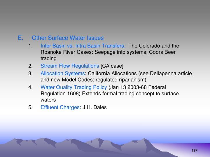 Other Surface Water Issues