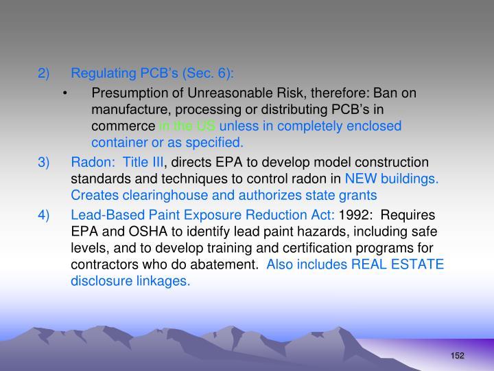 Regulating PCB's (Sec. 6):