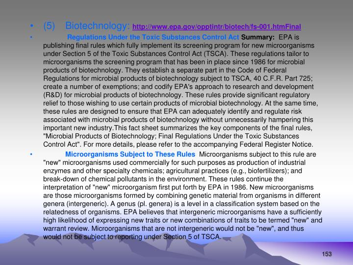 (5)Biotechnology: