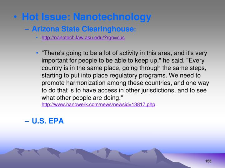 Hot Issue: Nanotechnology