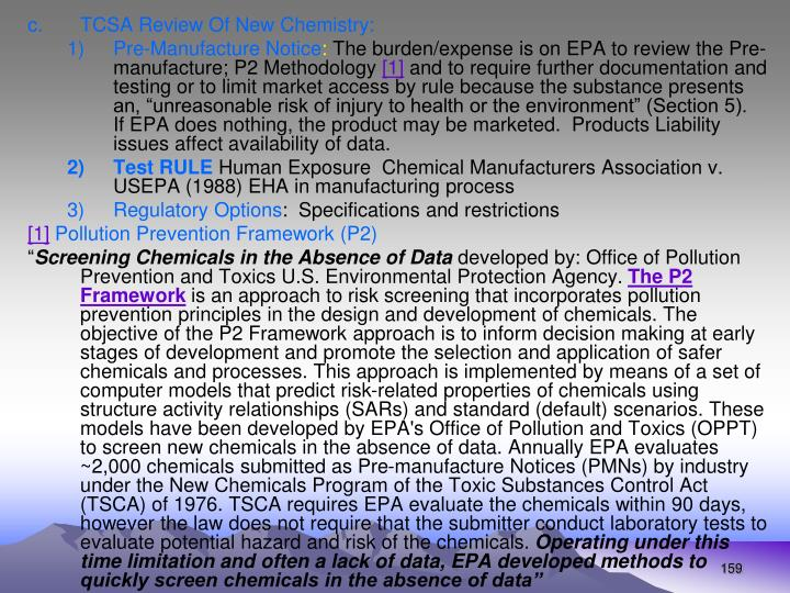 TCSA Review Of New Chemistry: