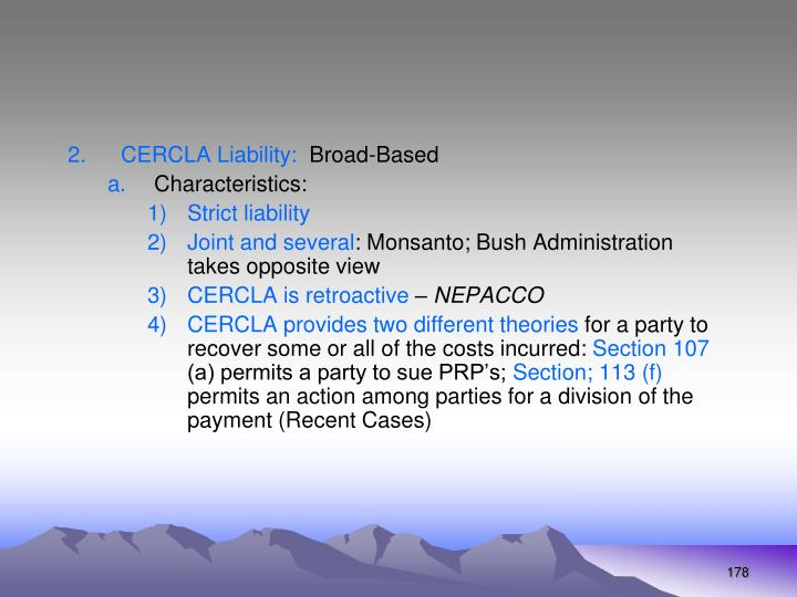 CERCLA Liability: