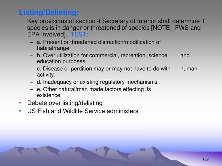 Listing/Delisting: