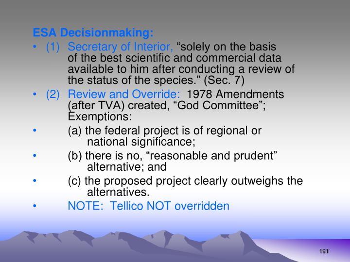 ESA Decisionmaking: