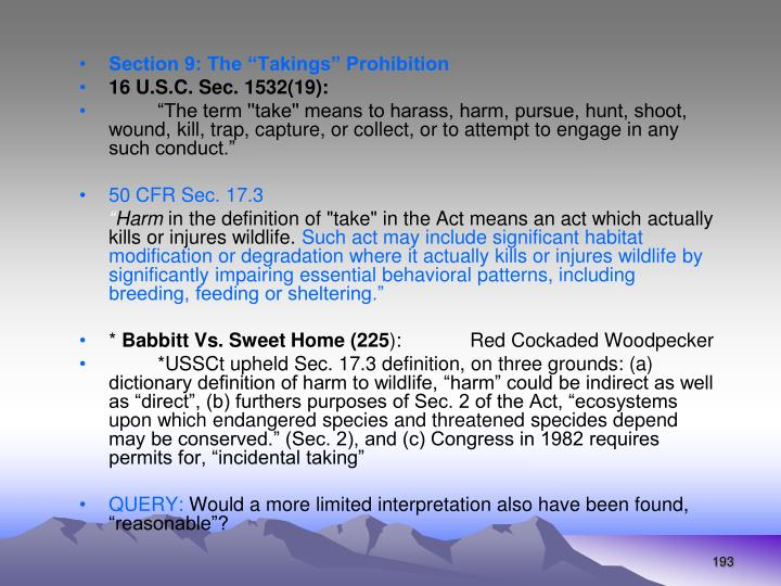 """Section 9: The """"Takings"""" Prohibition"""